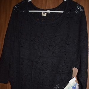 Roxy Crochet Black Sweater Size S NWT